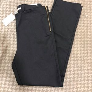 NWT H&M Dark Grey Pants, Gold Side Zipper, Sz 10